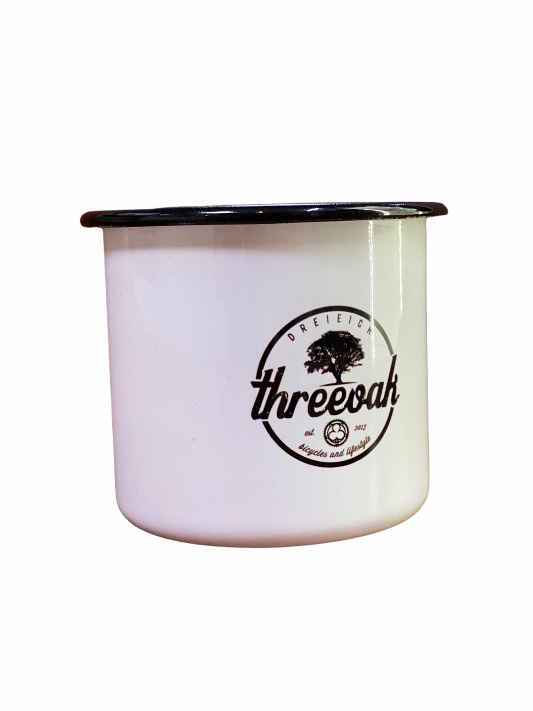 threeoak - Emaille Tasse mit Logo